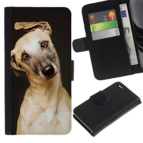 LASTONE PHONE CASE / Luxe Cuir Portefeuille Housse Fente pour Carte Coque Flip Étui de Protection pour Apple Iphone 4 / 4S / Retriever Mutt Golden Greyhound Dog