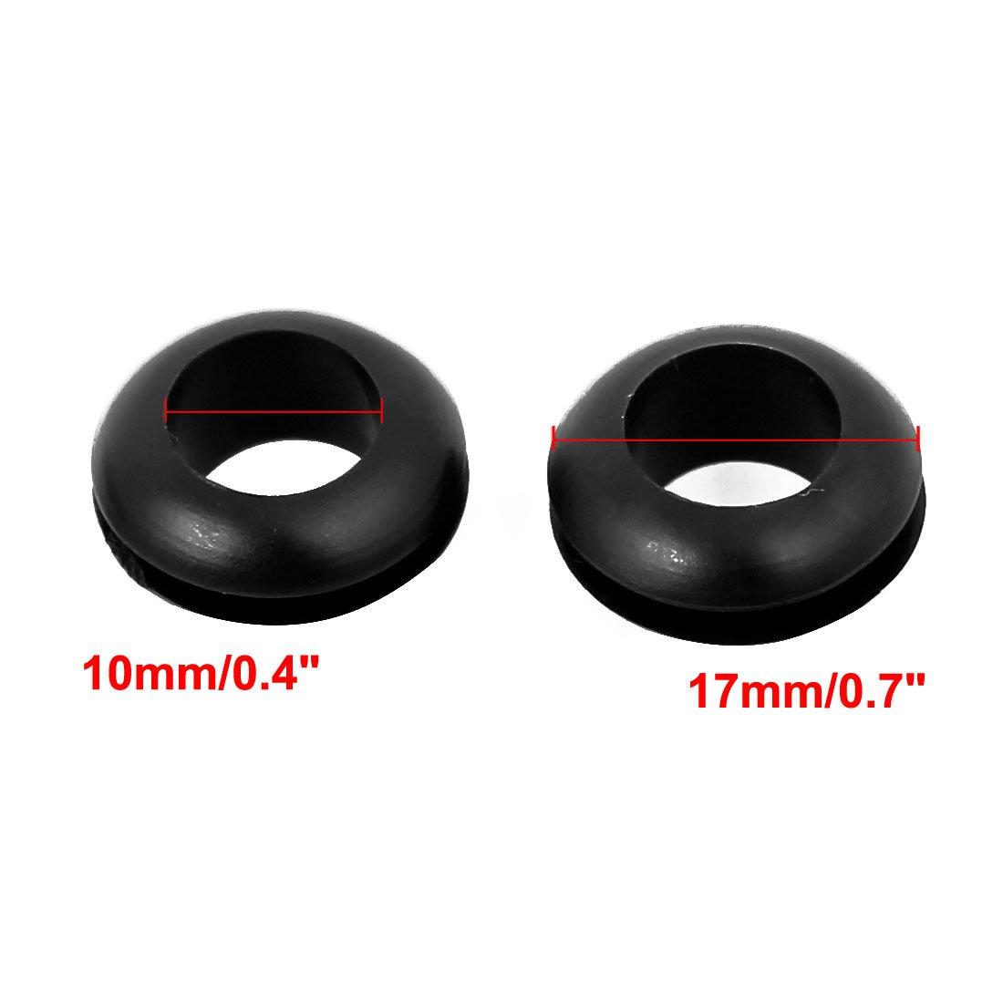 Pasacables de goma de junta de anillo Protector de cable 10 mm de di/ám. sourcingmap/® 50 PCS