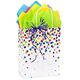 Rainbow Confetti Paper Shopping Bags - Cub Size - 8 1/4 x 4 3/4 x 10 1/2in. - 150 Pack