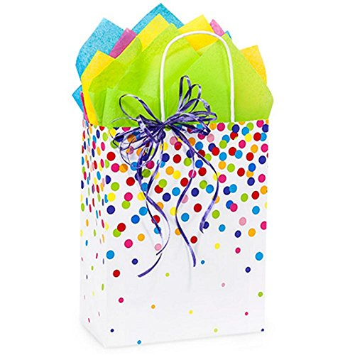 Rainbow Confetti Paper Shopping Bags - Cub Size - 8 1/4 x 4 3/4 x 10 1/2in. - 150 Pack by NW