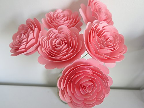 Long Stemmed Rose Centerpiece - Pretty Pink Flower Bouquet for Loved One, 6 Long Stemmed Roses, 3