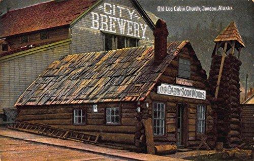 Real Photo Postcard Old Log Cabin Church Brewery, Soda in Juneau, Alaska~114263 (Log Postcard)