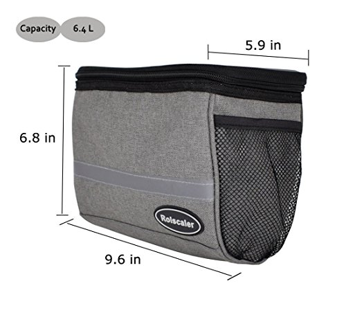 ROLSCALER Bicycle Basket Handlebar Cooler Bag with TPU Touch Screen and Reflective Stripe for Mountain Bike Outdoor Activity Cycling Pack Accessories 3.5L by ROLSCALER (Image #2)