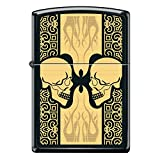 Gold Flaming Faceing Skull Face Black Matte Custom Zippo Windproof Collectible Lighter. Made in USA Limited Edition & Rare