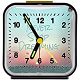 "Never Stop Dreaming Inspirational Quotes Prints Custom Decorative for Kids Room Black Square Alarm Clock 3.27""(H) x 3.07""(W) x 1.65""(D)"