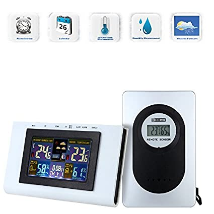 Anself 433MHz Estación Meteorológica Inalámbrica Para Ambos Exterior y Interior Reloj Digital de Termómetro Higrómetro Temperatura