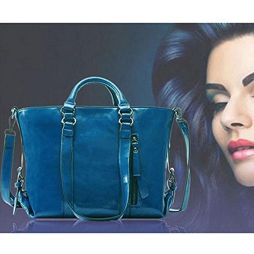 Satchel Ladies Handle Body Pawaca Fashion Travel Bag Shopping for Top Bags Work Handbag Cross Bag Girls Women Leather Blue Tote Elegant Shoulder Zq7Igq8