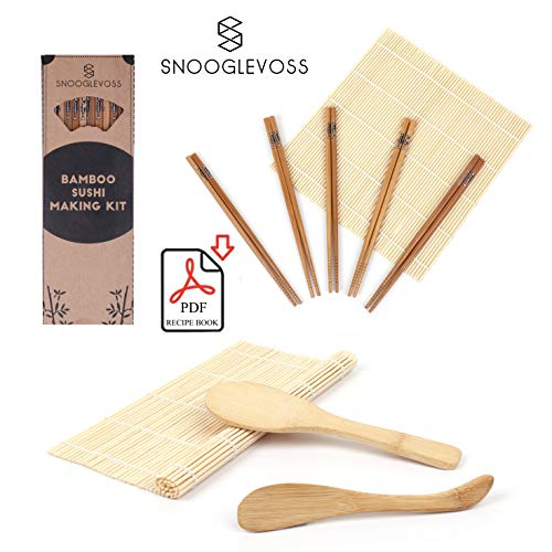 Snooglevoss Bamboo Sushi Making Kit - Includes 2 Sushi Rolling Mats- 5 Pairs of Chopsticks - 1 Sushi Rice Spreader - 1 Sushi Rice Spoon - Free PDF with Sushi Recipes