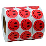 Hybsk(TM) Red Smiley Face Happy Stickers 1'' Round Circle Teacher Labels 1000 Total Per Roll (3 rolls)