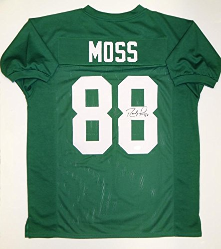(Randy Moss Autographed Green College Style Jersey- JSA Witnessed Auth)