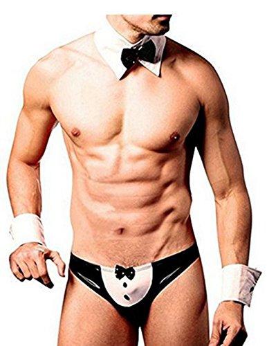Freebily Sexy Waiter Cosplay Underwear Handcuffs Bowtie Outfits Set (Date Halloween France)