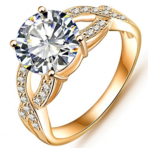 FENDINA Womens Infinity Solitaire Wedding Engagement Rings Best Promise Rings for Her - Round Cut CZ Crystal - 18K Gold (Artcarved Wedding Bands Round Ring)