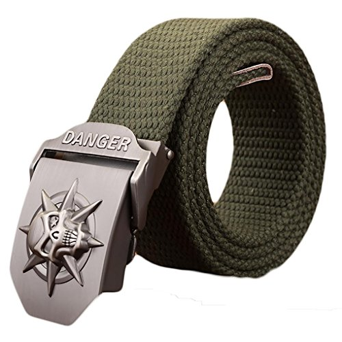 Ayli Men's Gothic Skull Tactical Canvas Web Belt, Metal Buckle, Green, Fits All Pant Sizes Below 40