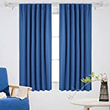 Deconovo Room Darkening Back Tab Thermal Insulated Blackout Curtains for Bedroom 52W x 63L Inch One Pair blue