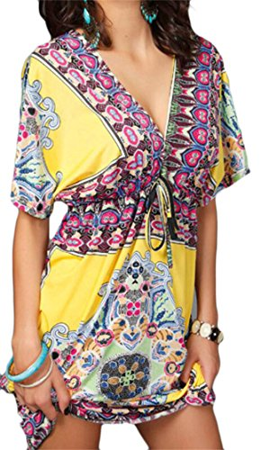 Sexy Print Floral Women's Beach V Yellow Dress Drawstring Mini Neck Domple Deep qUwCn55