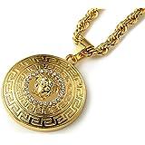 Fashion 18k Gold Men Jewelry medusa head pattern necklace mens chain