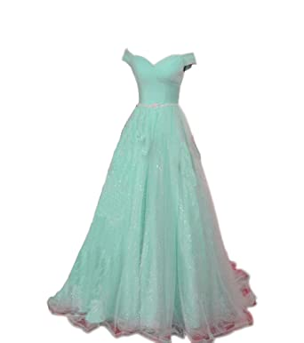 Liaoye Womens Off Shoulder Prom Dresses Long Tulle A Line Evening Party Gown Aqua 2