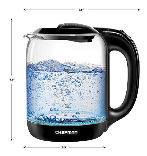 Chefman Electric Glass Kettle with Touch BPA Free Interior, Shut-Off, 1.7 Liters
