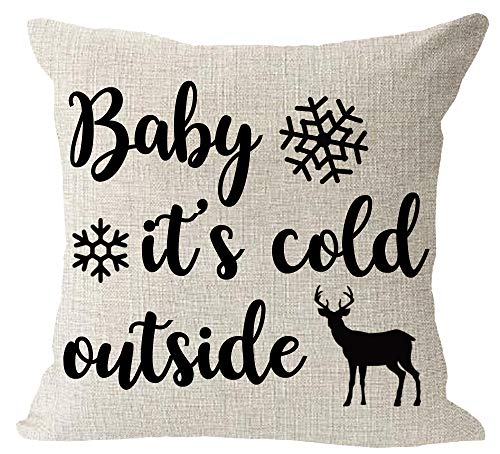 Baby It's Cold Outside Snowflake Animal Elk Merry Christmas Holiday Blessing Gift Cotton Linen Square Throw Waist Pillow Case Decorative Cushion Cover Pillowcase Sofa 18