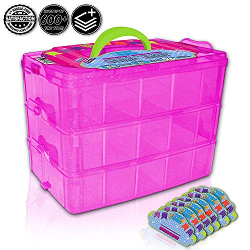 (Holds 600 - Tiny Toy Box Shopkins Storage Case Organizer Container - Stackable Collectors Carrying Tote Compatible With Mini Toys Colleggbles LoL Fash'ems Tsum Tsum Hot (Pink Sparkle/Green))