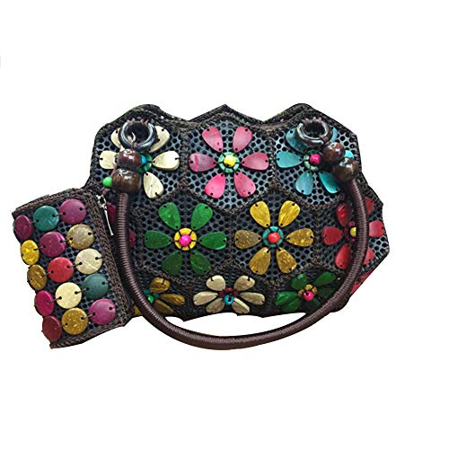 Fleurs Paillettes À De Noix Forme tout Sac En Femmes Multicolore Fourre Coco Pour Main Mini Coutures wAqaBWpO