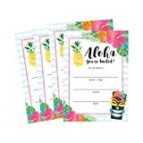 50 Hawaiian Luau Summer Pool Party Invitations for Children, Kids, Teens & Adults, Summertime Birthday Cookout Invitation Cards, Boys & Girls Floral Fill-In Invite, Family Reunion BBQ Fill In Invites