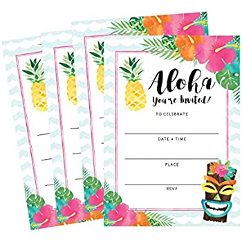 Amazon.com: 50 Hawaiian Luau Summer Swim Pool Party Invitations ...