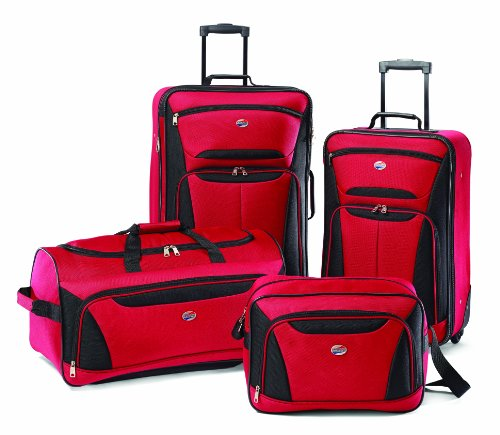 American Tourister Luggage 4-Piece Set, Red/Black