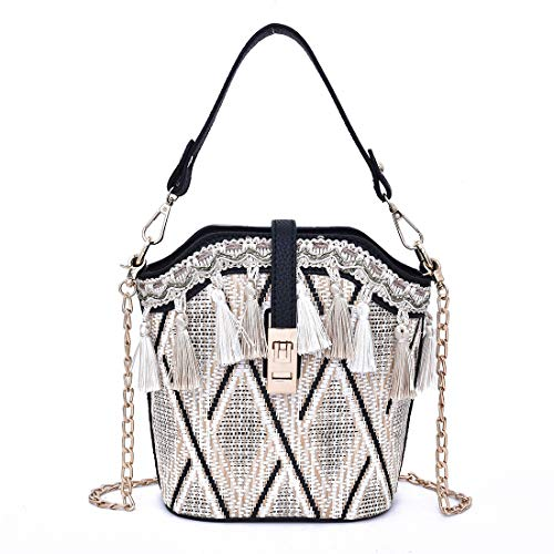 Tassels Woven Bucket Bag, Crossbody Bag For Women, Fashion Handlebag and Purses, Bag with Metal Chain Strap, travel, shopping ...