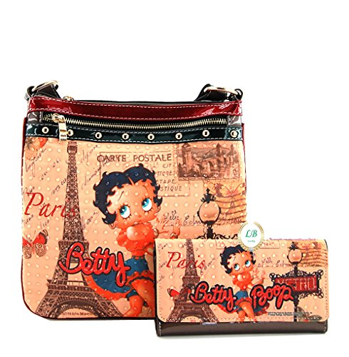 Betty Boop Cross Body Bag Wallet Set, Betty Boop in Paris (Bronze (Betty Boop Top Zip)