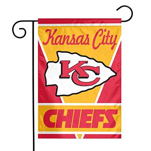 Sorcerer Custom Colorful Garden Flag American Football Team Kansas City Chiefs Outdoor House Yard Flag Polyester Indoor Banner for Wedding Party Decor 12 x 18 -