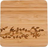 """4"""" Square Bamboo Coaster - Set of - 4 by Trademark Innovations (Birds)"""