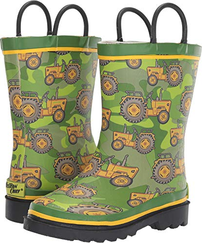 Western Chief Boys Kid's Waterproof Printed Rain Boot, Vintage Tractor, 9/10 M US Toddler