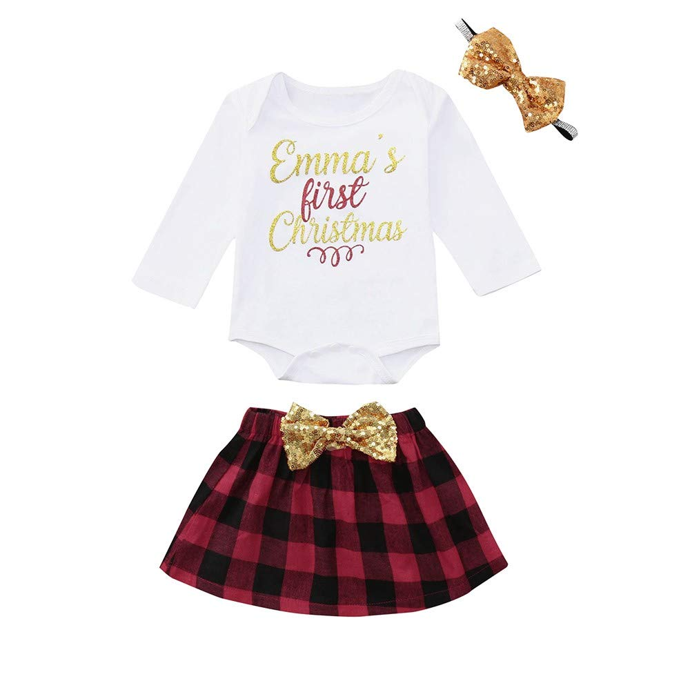 da2c5d5a5 Amazon.com: Christmas Outfit for Kids Girls, Letter Print Romper+Bow skirt+ Headbands Set Clothes,My First Christmas Rompers (White, 24 Months):  wkdg*agde ...