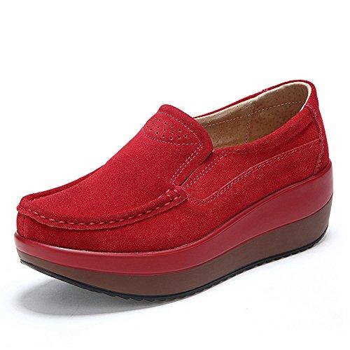 dbaa411d Cybling Kvinner Plattform Tilfeldige Joggesko Tykk Såle Solid Farge Midten  Hæler Komfort Loafers Sko Røde