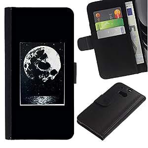 A-type (Moon Night Poster Halloween) Colorida Impresión Funda Cuero Monedero Caja Bolsa Cubierta Caja Piel Card Slots Para HTC One M8