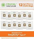 jack and jill vacuum bags - 12 Replacements for Simplicity Type Z Bags, Compatible With Part # SCC-6 SLZ-6,RZH, RZP-6, SLZ, SZP-6, by Think Crucial