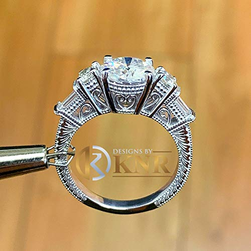 (14K Solid White Gold Round Cut Forever One Moissanite and Natural Round And Baguettes Cut Diamond Engagement Ring Deco Antique Style 2.70ctw)