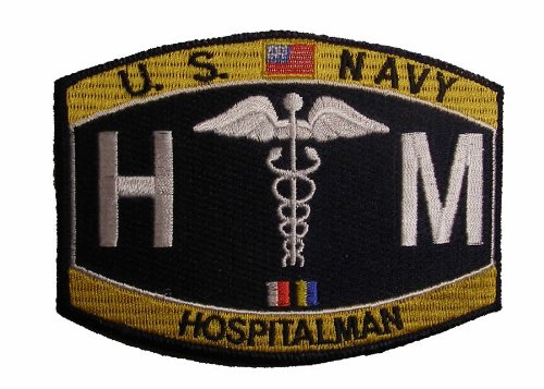 (U. S. Navy HM HOSPITALMAN CORPSMAN MOS Patch - Veteran Owned)