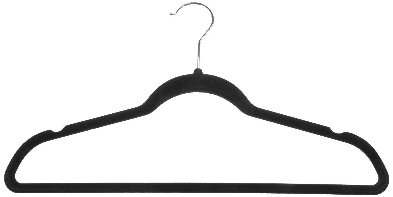 Zen Closet Ultra Thin Heavy Duty No Slip Velvet Suit Hangers (50 Pack), Black by Zen Closet
