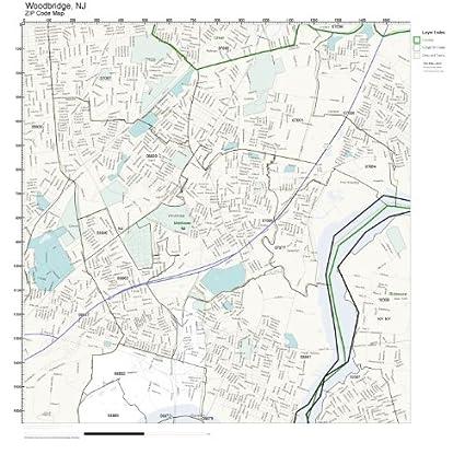 Amazon.com: ZIP Code Wall Map of Woodbridge, NJ ZIP Code Map ...