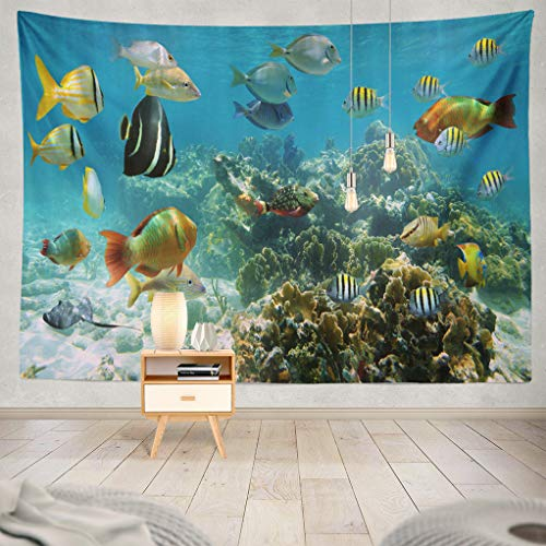 ASOCO Marine-Life Tapestry, Tapestry Wall Hanging Underwater Shallow Coral Reef with Colorful Tropical Fishes Sea Wall Tapestry for Bedroom Living Room Tablecloth Dorm 80