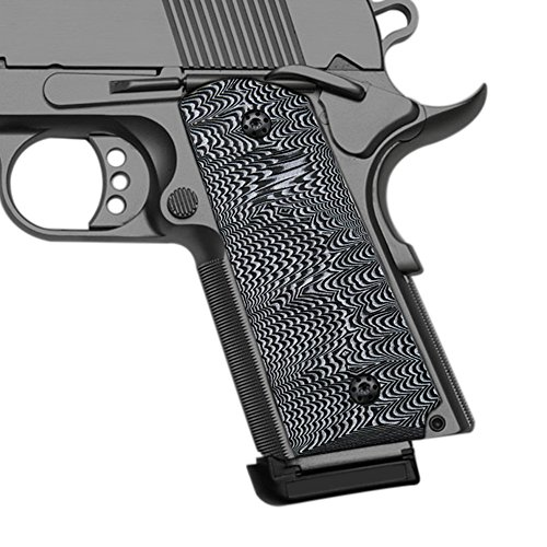 Cool Hand 1911 Grips, Finger Cut, Compact/Officer, G10 White/Black ()