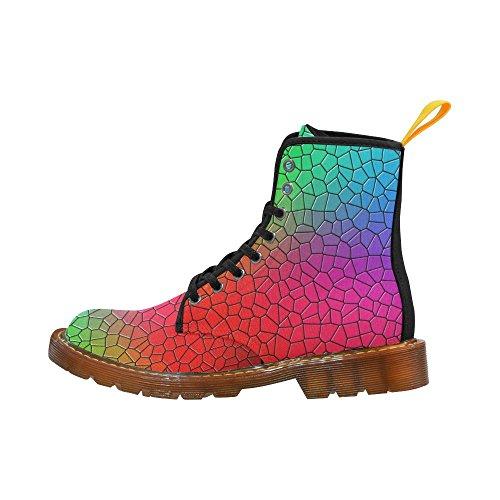 Leinterest Mosaic Coloful Rainbow Flower Martin Stivali Moda Scarpe Da Donna