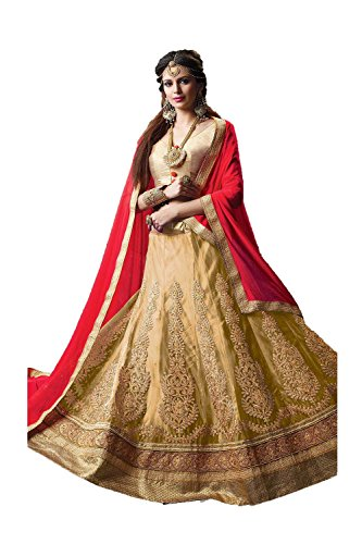 Da Facioun Indian Women Designer Wedding beige Lehenga Choli K-4595-40301