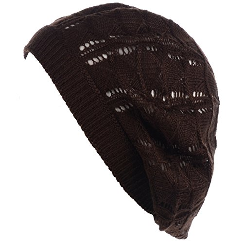 (BYOS Chic Parisian Style Soft Lightweight Crochet Cutout Knit Beret Beanie Hat (Wavy Stripes Brown))