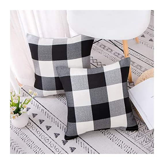 Vanky Set of 2 Buffalo Check Plaid Pillows Farmhouse Decor Christmas Pillow Covers Fall Outdoor Pillows Outside Porch Pillows Cotton Linen Throw Pillow Covers Black White 18 x 18 Inches - SIZE:18 x 18 Inch / 45 x 45cm.Square throw pillow covers Suitable for sofa, front porch,bed,living room,home,office,car seat,outdoor. MATERIAL:Grade A Cotton Linen,Classic Retro Plaids,This linen fabric can easily match with all styles of furniture.These cushion covers are also great gifts for each holiday,Like Halloween Thanksgiving Day, Christmas Day. Package includeds 2 pcs pillow covers without pillow inserts. - patio, outdoor-throw-pillows, outdoor-decor - 518ql6RLixL. SS570  -