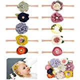 Baby Girl Headbands Bows flowers,10 Pack Hair Accessories for Newborn Infant Toddler Kids Gift by FANCY CLOUDS