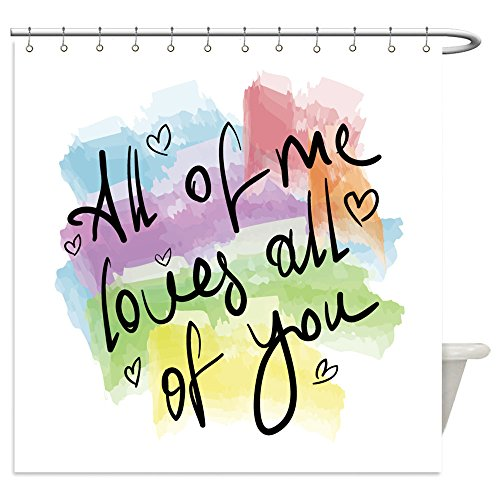 Vanfan Shower Curtains all of me loves all of you romantic love quote note as greeting card postcard poster sticker 304172153 For (Costume Design Drawing Template)