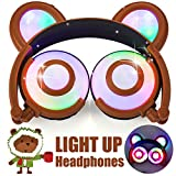 Kids Headphones Bear Ear AMENON USB Rechargeable Wired Foldable Over Ear Gaming Headsets with LED for Girls,Kids,Boys,Compatible for iOS,Android,Computer,Birthday Festival Gifts (006brown)